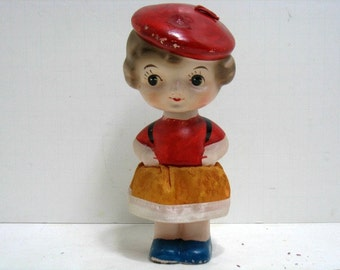 Vintage School Girl Nodder Bobblehead Girl w/ Beret & Backpack Composition French Child