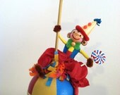 Monkey on Circus Ball Cake Topper