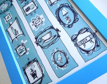 THE WINTER COLLECTION retro drawings of vintage decor items in fancy frames illustrated in shades of blue, a poster print by Kathryn DiLego