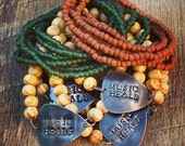 RESERVED for Melanie Forest Green Seed Bead Bracelet Stack