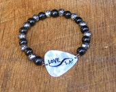 Guitar Pick Bracelet Infinity Love L.A. Los Angeles with Black and Silver Wood Beads rocker musician music Hollywood unisex white travel
