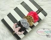 Baby headband or Planner band, Black hot pink, gold XOXO elastic notebook band closure for happy planner, erin condren, filofax, kikkik
