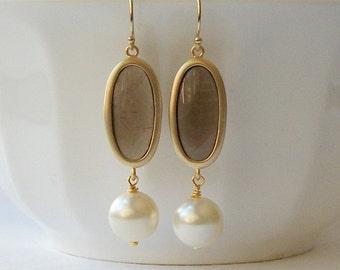 Topaz Brown Pearl Drop Earrings