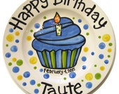 """KILN FIRED 10"""" Happy Birthday candle cupcake personalized Plate custom ceramic"""