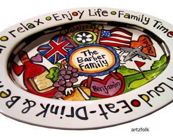 Custom traditions storyart large or extra large ceramic family platter great wedding gift