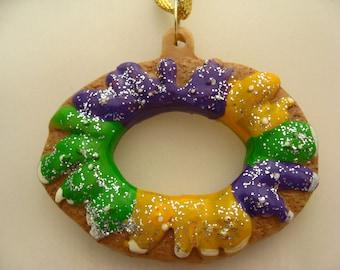 New Orleans Mardi gras KING CAKE Ornament tree  favor Christmas Holiday Decoration Carnival Louisiana Gift