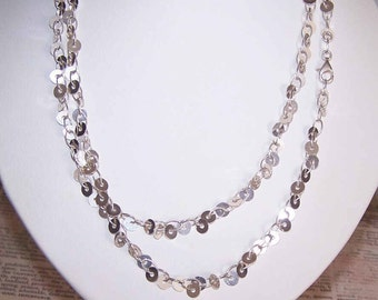 """Vintage STERLING SILVER 36"""" Chain Necklace - Sequin-Like Discs"""