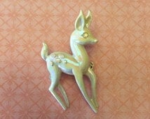 Vintage Jewelry Iridescent White Bambi Deer Reindeer Enameled Brooch with Rhinestone