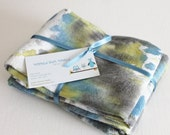 Hand Dyed Kitchen Towels - Flour Sack Tea Towel Set of 2 - Tie Dyed Dish Towels Denim Slate Blue Gray Grey Charcoal Lime Green White