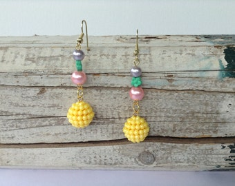 Large Yellow Multicolour Drop Earrings