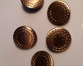 5 Vintage Brass Sewing Buttons