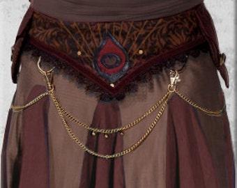 Amulet Belt - Tribal Belly Dance Belt With Peacock Motif