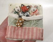 Whimsical Babies Ornament - Handmade Bunny, Fox and Mouse - Sleeping Animals Keepsake - Unique Original Miniature Sculpture