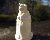 Little Cat In White Robe - Zoomorphic Vessel Miniature Jar