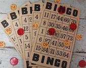 Vintage Ephemera BINGO Cards (12) Altered Art Supply- Mixed Media Art- Vintage Game Parts- H08