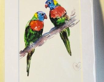 Birds on branch, Parrot art with matt, Love birds, bird art, Lorikeets, tropical bird art