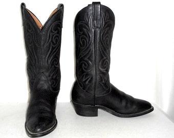 Mens Size 7 D Black Cowboy Boots Western Biker Vintage Urban Shoes Womens 8.5