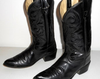 Mens 8 D Cowboy Boots Black Acme Vintage Distressed Western Rockabilly Steampunk