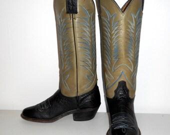 Womens 6 6.5 B Cowboy Boots Dark Blue Grey Indie Cowgirl Vintage Western Chic Boho