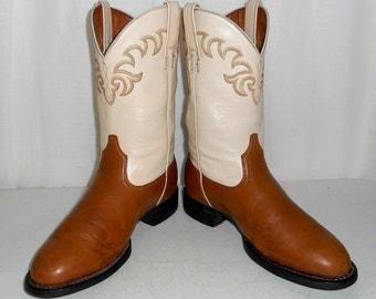 Womens Two Tone Tan Cream Cowboy Boots size 6.5 B Cowgirl Western Wear