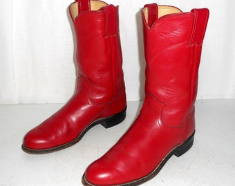 Womens 5.5 B Red Cowboy Boots Justin Ropers Cowgirl Boho Western Hippie Vintage