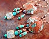 Sleeping Beauty Turquoise rustic copper cowgirl disc earrings