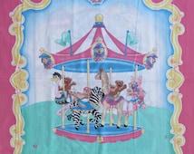 "100% Cotton Fabric Panel roughly 36"" x 45"" Baby Crib Quilt Blanket Wall Hanging Carousel Teddy Bears Pink Purple Giraffe Zebra Ostrich"