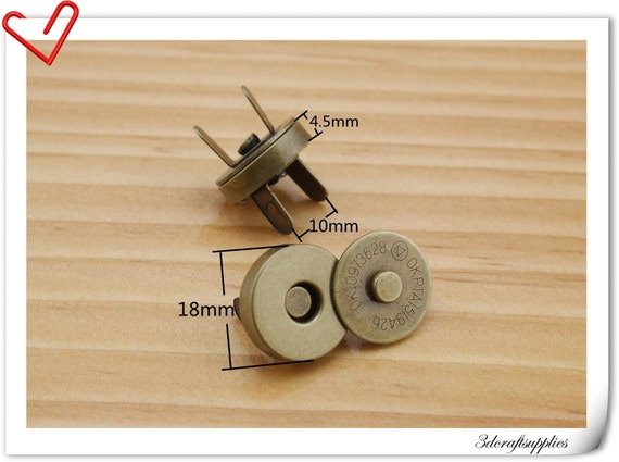 18mm Antique Brass Color Magnetic Snaps Per Bag of 20 Sets Magnetic Fastener   F7