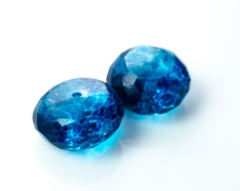 London Blue Quartz Faceted Rondelle Beads 8mm