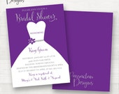 Purple Bridal Shower Invitation | Bridal Shower Invitation | Dress Bridal Shower Invitation | Purple | Silver | Purple and Silver| BS01