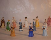 FREE SHIPPING collection of porcelain ladies figurines hand crafted in Malaysia (Vault A)