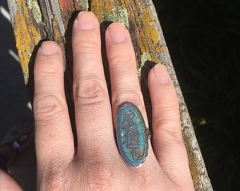 FREE SHIPPING sterling silver turquoise ring with lady