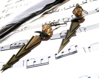Brass Earrings Lightening Earrings Modern Jewelry Brass Earrings Lightening Bolts