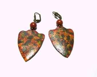 Orange Leather Earrings  Hand Painted Wearable Art Tribal Jewelry