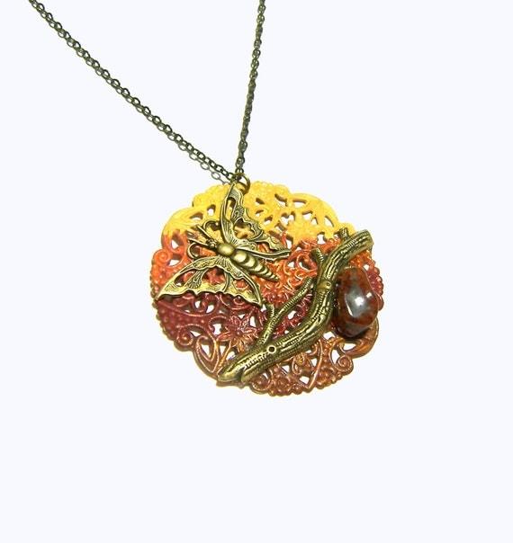 Sunset Butterfly Filigree Jasper Pendant  Chic Boho Jewelry  Organic Pendant  Branch Pendant Hippie Jewelry Ethic Jewelry Red Pendant