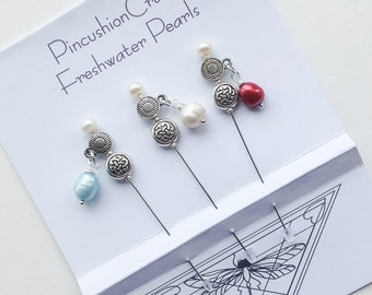 Freshwater Pearl Stick Pins - Celtic Knot - Pincushion Pins - Lapel Pins - Girlfriend Gift - Bridal Pins - Corsage Pins - Gift for Quilter