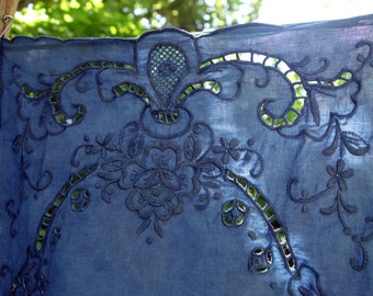 """Indigo Placemats Vintage Madeira Linen Set of 12 Natural Dye Upcycled Linen Placemats Indigo Blue 12""""x 18"""" Hand Stitched Embroidered Linens"""