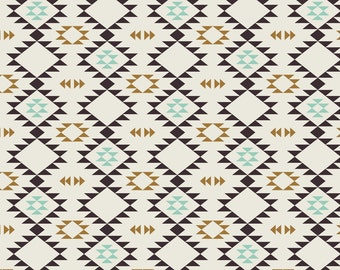 Tribal Fabric - Tan Golden Brown Mint By Kimsa - Southwestern Triabl Cotton Fabric By The Yard With Spoonflower