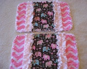 2 New Chevron with Colorful Elephants Baby Girl Burp Cloths with Minky backing