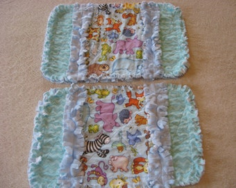 2 New Tossed  Animals Baby Boy Burp Cloths with Minky backing