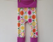 Size One Grow with Me Pants- Retro Flower Stripe with Orchid solid