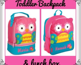 Toddler Backpack and Lunchbox / personalized backpack / personalized lunchbox / STEPHEN JOSEPH backpack / OWL