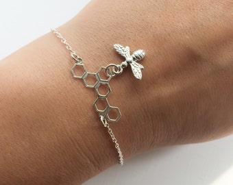 Bee and Honeycomb Bracelet in Sterling Silver