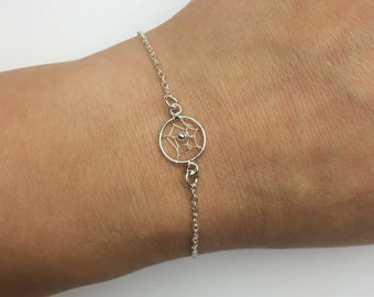 Dream Catcher Bracelet - Adjustable Sterling Silver Dream Catcher Bracelet