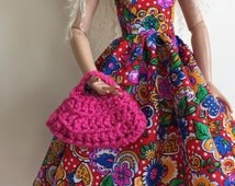 Handmade Ellowyne Gene Clothes Purse Handbag Crochet Dark Rose