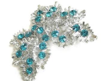 Vintage Bright Silver Tone and Aquamarine Rhinestones Leaf Brooch