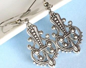 Silver Drop Earrings - Ornate Earrings, Filigree Earrings,