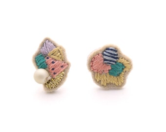 NEW - Hand Embroidered Earrings - MIX 06