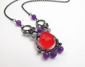 Sterling Silver Oxidized Orange Chalcedony with Purple Jade Necklace - Gemstone Necklace - Sterling Antiqued Necklace - N-018
