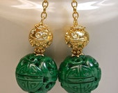 Vintage Chinese AAA grade Carved Malachite Shou Bead Earrings, Bali 24K Gold Vermeil Beads, Bali Handmade 24K Gold French Ear Wires